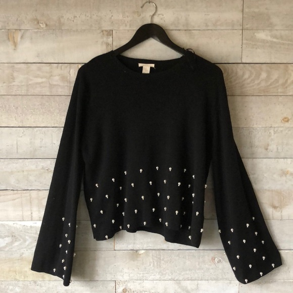H&M pearl embellished crop crew sweater